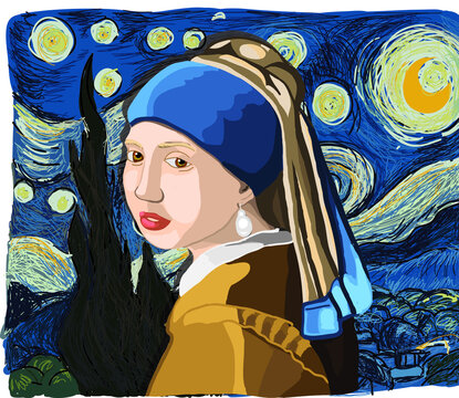 """Girl with a pearl earring"" in ""Starry night"" chart hand drawing vector"