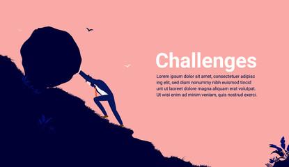 Fototapeta Business challenges - Businessman working hard pushing boulder up hill. Challenge, determination and persistence concept. Vector illustration. obraz