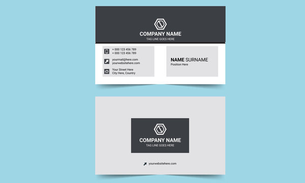 Black and white unique shaped business card template