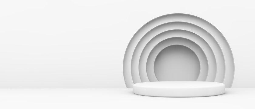 White platform with circles
