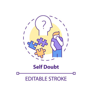 Self-doubt concept icon. Procrastination effect idea thin line illustration. Emotional suffering. Persistent need for reassurance. Vector isolated outline RGB color drawing. Editable stroke