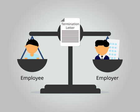 employer fight with employee in the court for misconduct termination and severance pay vector