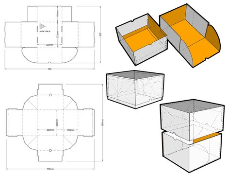 Special Box Design for Cakes and Pastries. Ease of assembly, no need for glue (Internal measurement 22x22x14 cm) and Die-cut Pattern.