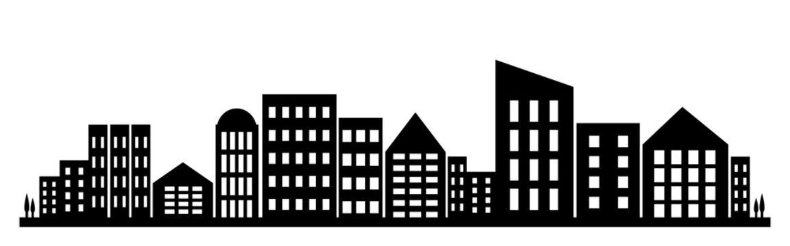 Fictive city silhouette. Vector illustration.
