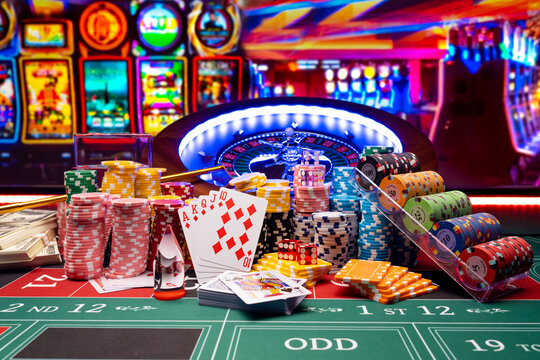 Casino set with Roulette, cards, dice and chips