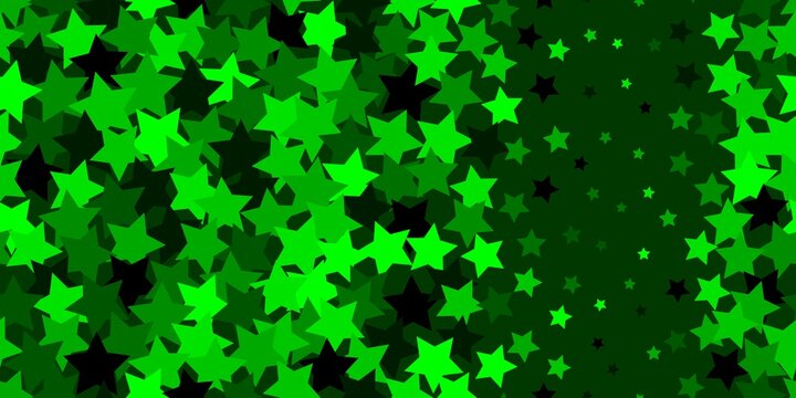 Green sparkles, abstract luminous stardust on a dark background