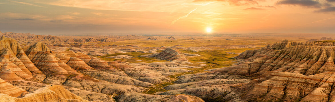 Badlands National Park panorama in South Dakota. Badlands national park protects sharply eroded buttes and pinnacles, along with the largest undisturbed mixed grass prairie in the United States.