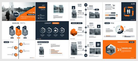 Abstract white, orange, slides. Brochure cover design. Fancy info banner frame. Creative set of infographic elements. Urban. Title sheet model set. Modern vector. Presentation templates, corporate. - fototapety na wymiar