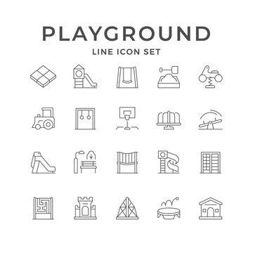Set line icons of playground