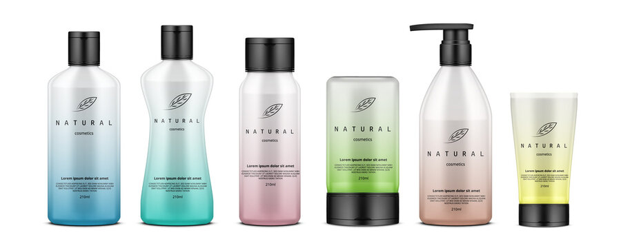Cosmetic Bottles And Tubes With Gradient Design