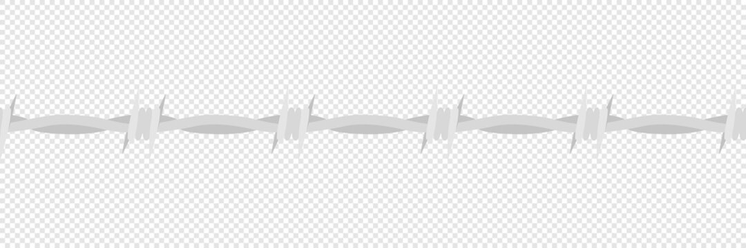 Barbed wire vector danger barrier with spikes, barbwire horisontal seamless flat vector illustration.