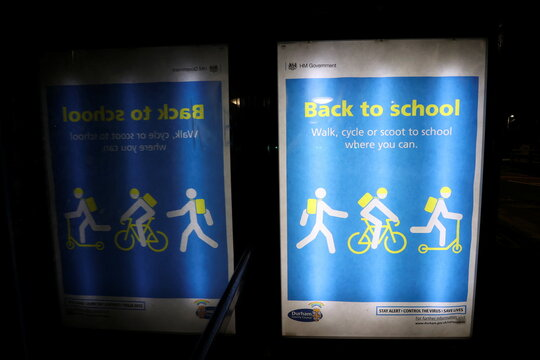A back to school advertisement is seen inside a bus shelter, amidst the outbreak of the coronavirus disease (COVID-19) in Chester-le-Street