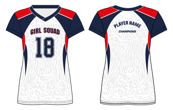 Women Sports t-shirt Jersey design concept Illustration Vector suitable for girls and Ladies for badminton, Soccer, netball, Football, tennis, Volleyball jersey. Sport uniform kit for sports