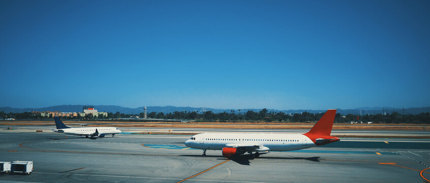 Planes ready for take off at Los Angeles airport.