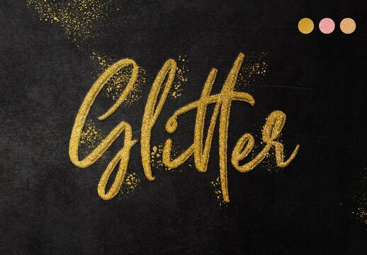 Realistic Glitter Gold Text Effect Mockup