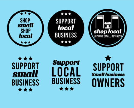 support and shop local small business icons for flyers and stickers