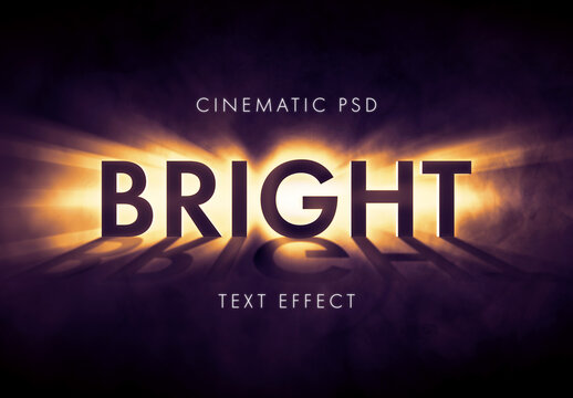Light Burst or Beem Text Effect Mockup