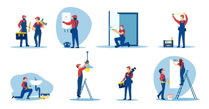 Vector of repair people, plumbers, electricians, painter renovating an apartment