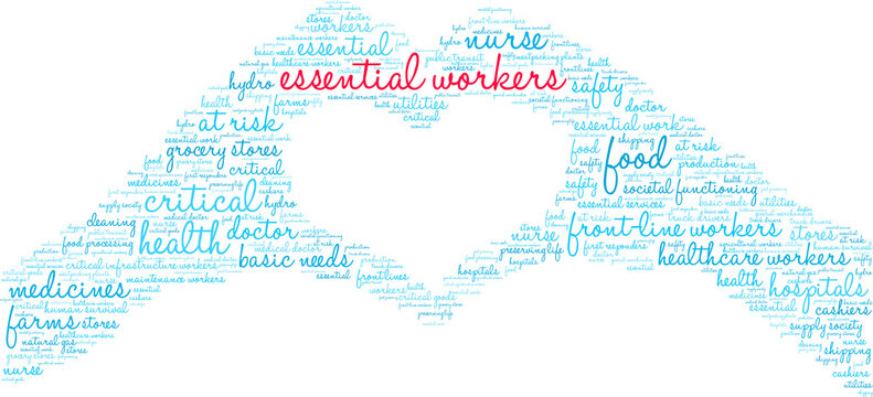 Essential Workers Word Cloud on a white background.