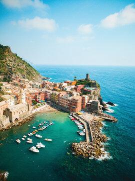 Vernazza Coastline Aerial