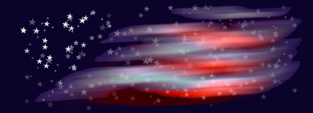 Abstract backgroun from spots of strips and stars like USA flag eps10 vector illustration.