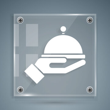 White Covered with a tray of food icon isolated on grey background. Tray and lid sign. Restaurant cloche with lid. Square glass panels. Vector.