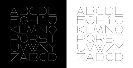 Two options of Line Art Font Design vector illustration isolated on a black and on a white backgrounds.