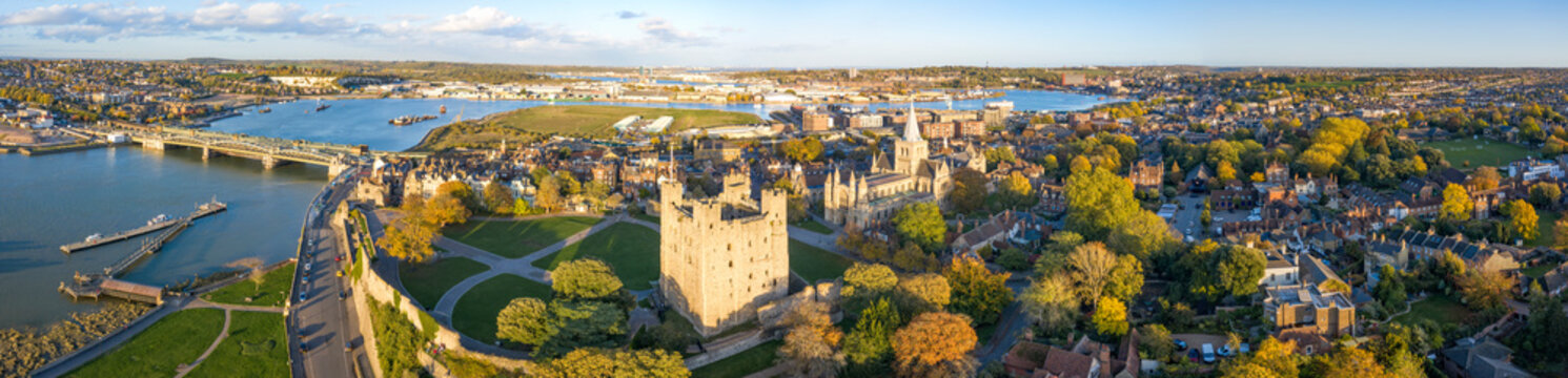 Panorama of historical Rochester from above