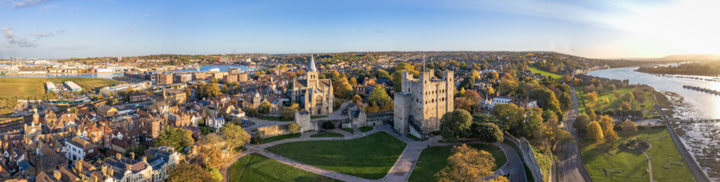 Aerial panorama of historical Rochester