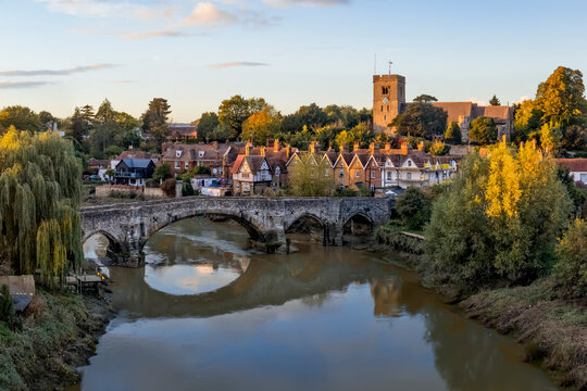 Aylesford village in Kent in autumn tints at sunset