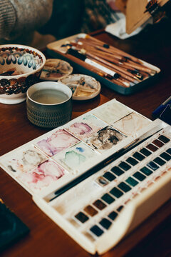 artist materials on table