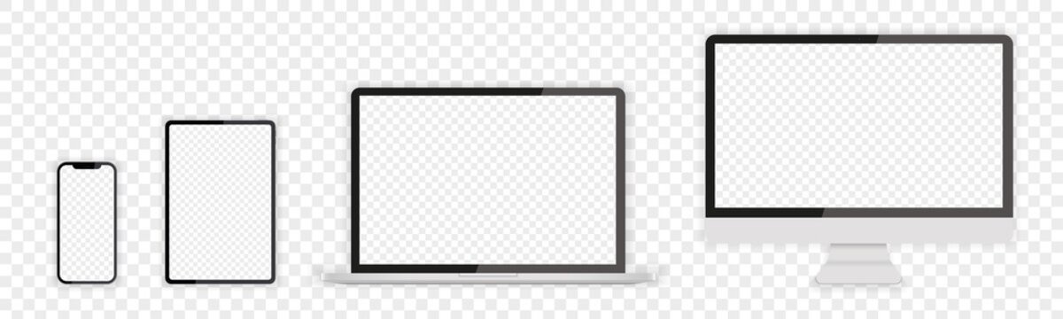 Modern Devices with transparent screen template. Realistic vector illustrations of smartphone, tablet, desktop and laptop. For use in mockups.