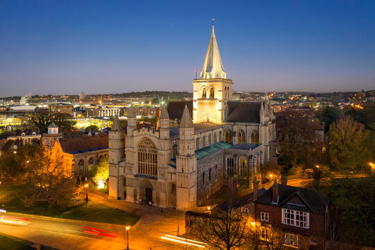 Rochester Cathedral at twilight