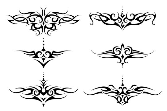 Set of tribal tattoo for lower back, shoulder or chest. Vector frame border pattern ornament decor collection.