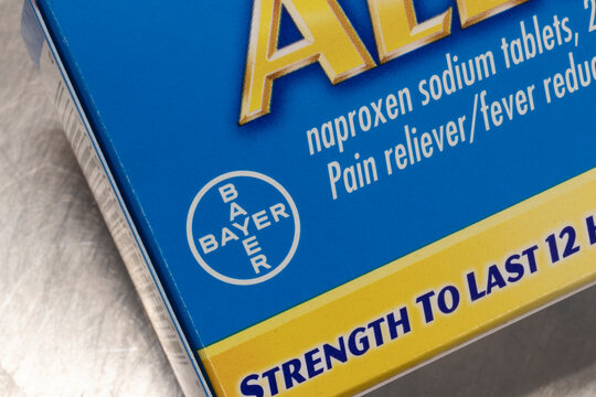 Indianapolis - Circa December 2020: Bayer Aleve. Bayer manufactures lines of pain relieving anti-inflammatory over the counter drugs.
