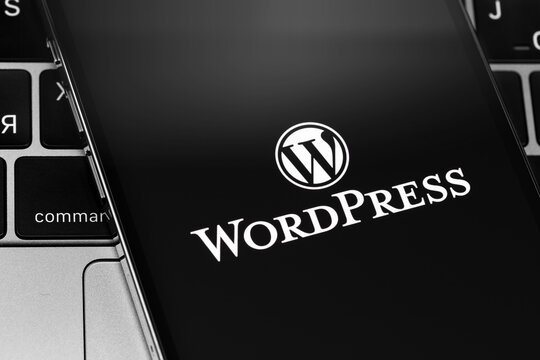 WordPress app logo on the screen smartphone closeup. WordPress - open source site content management system. Moscow, Russia - December 3, 2020