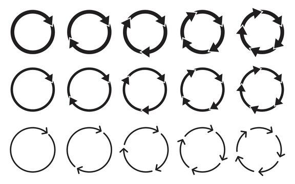 Set of circle arrows rotating icon, Round reload, Refresh, recycle, loop rotation, Circular rotation loading, redo process, Vector illustration.