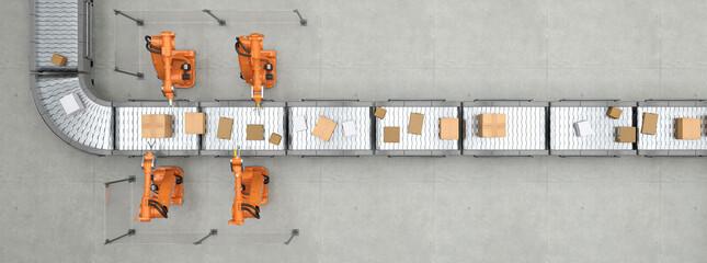 Fließband von oben in Logistikzentrum mit Paketen und Robotern