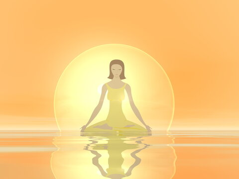 Young woman meditating peacefully in a bubble upon water by orange sunset - 3D render