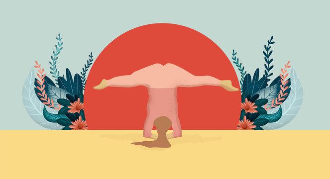 Happy Plus Size Girl Doing Yoga