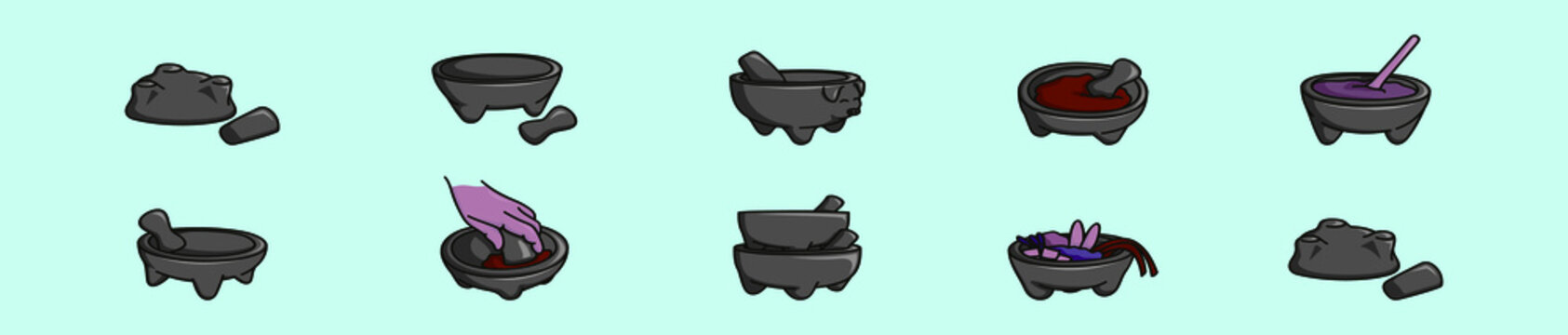 set of mexican molcajete cartoon icon design template with various models. vector illustration isolated on blue background