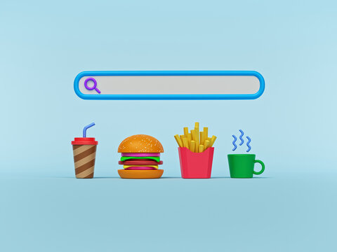 Blank search bar with food items. order food online concept. Minimal background. 3d rendering