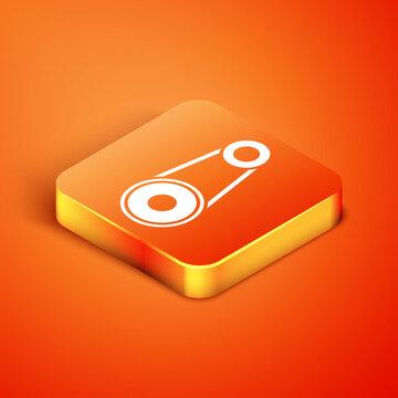 Isometric Timing belt kit icon isolated on orange background. Vector.