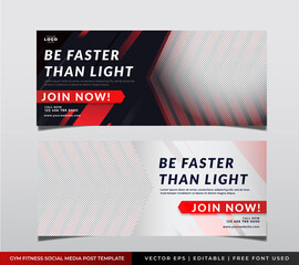 Wall Mural - Fitness and gym training center social media instagram post facebook cover page timeline web ad banner template design