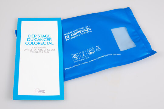 Screening colorectal cancer testing sample kit with bag and flyer in France