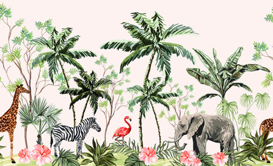 Hand drawn tropical vintage botanical landscape, illustration with palm trees, banana trees, palm leaves, hibiscus flowers, giraffe, zebra, elephant. Floral seamless border blue background.
