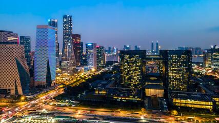 Fototapeta panoramic night view of Hangzhou, china