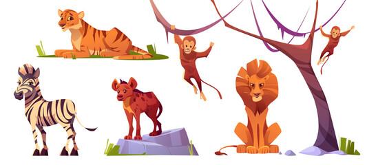 Cartoon wild animals tiger, monkeys, lion, hyena