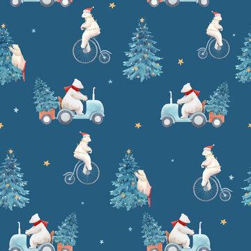 Beautiful vector christmas seamless pattern with hand drawn watercolor cute polar bear illustrations.