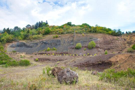 Lava wall at Mosenberg vulcano in Rhineland-Palatinate, Germany